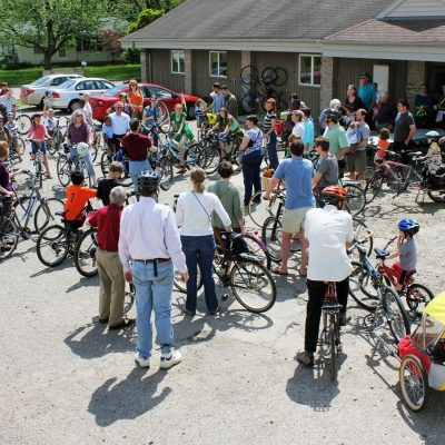 Assembly Mennonite's creation care day culminated in a bike blessing.