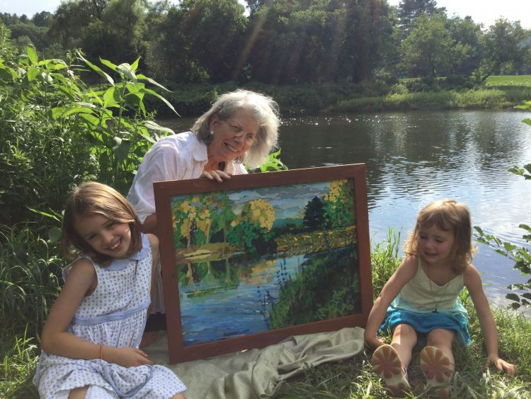Artists with river collage